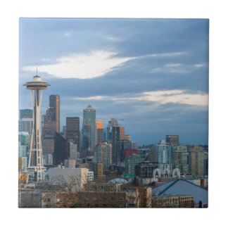 Seattle WA City Skyline evening Panorama Tile