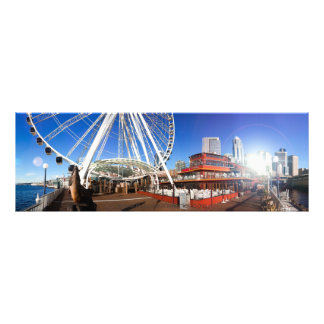 Seattle  WA | Sunny Pier & the Big Wheel | 36x12 Photo Print