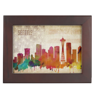Seattle, WA | Watercolor City Skyline Keepsake Box