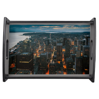 Seattle Washington Aerial View Serving Tray