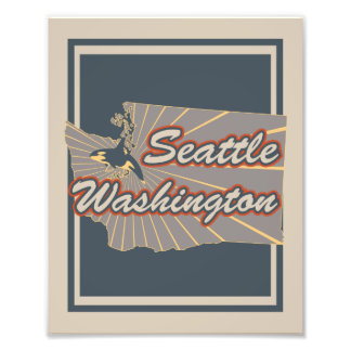 Seattle, Washington Art Print - Travel Artwork v2 Photographic Print