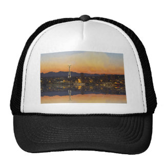 Seattle Washington Cityscape at Sunrise Apparel Hats