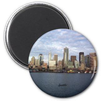 Seattle, Washington skyline 2 Inch Round Magnet