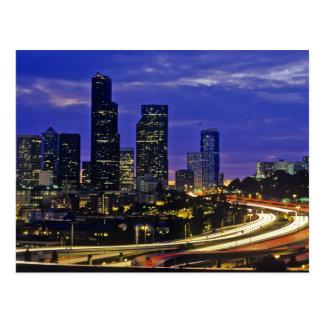 Seattle, Washington skyline at night Post Card