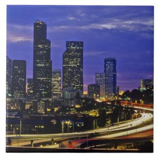 Seattle, Washington skyline at night Tiles