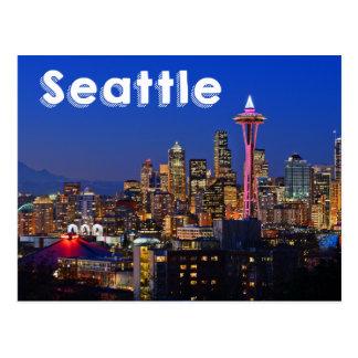 Seattle, Washington Skyline At Night USA Postcard
