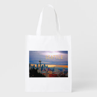 Seattle Washington Skyline at Sunset TEXT SEATTLE Grocery Bags