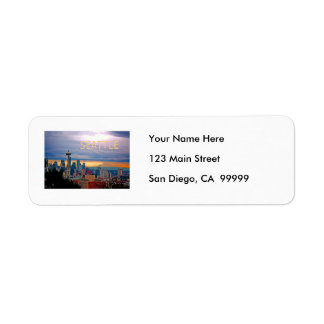 Seattle Washington Skyline at Sunset TEXT SEATTLE Return Address Label