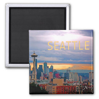 Seattle Washington Skyline at Sunset TEXT SEATTLE Square Magnet
