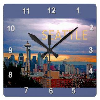 Seattle Washington Skyline at Sunset TEXT SEATTLE Wall Clock