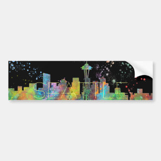 SEATTLE WASHINGTON SKYLINE BUMPER STICKER