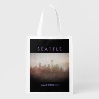 Seattle, Washington Skyline IN CLOUDS Grocery Bags