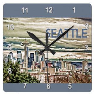 Seattle Washington Skyline in Fog and Rain Clocks