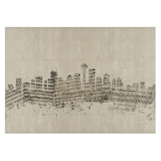 Seattle Washington Skyline Sheet Music Cityscape Cutting Board