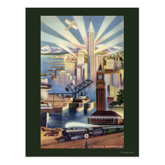 Seattle, Washington - View of Downtown Post Cards