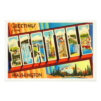 Seattle Washington WA Old Vintage Travel Souvenir Art Photo