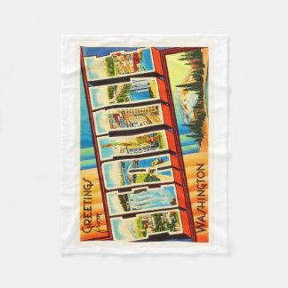 Seattle Washington WA Old Vintage Travel Souvenir Fleece Blanket