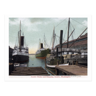 Seattle, WashingtonView of the Dock and Ships Postcard