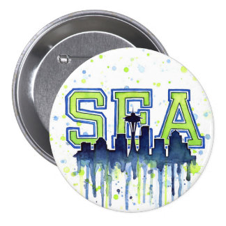 Seattle Watercolor Space Needle Skyline Button