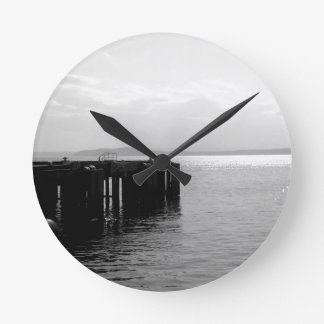 Seattle Waterfront in Black and White Wallclocks