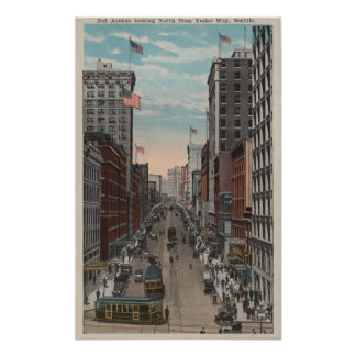 Seattle, WAView of 2nd Ave from Yesler Poster