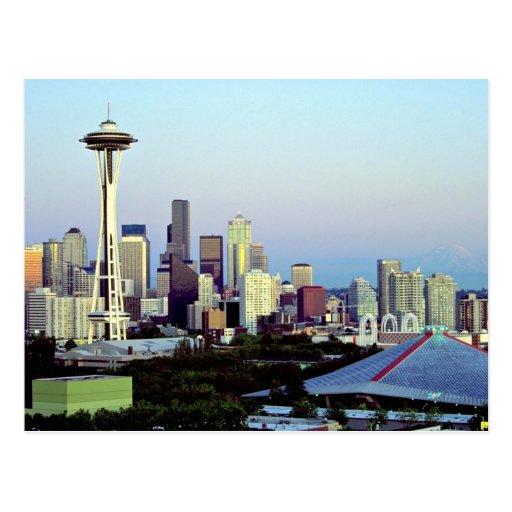 Seattle with Mount Rainier, Washington State, U.S. Post Card