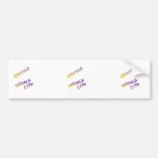 Seattle world city,  colorful text art bumper sticker