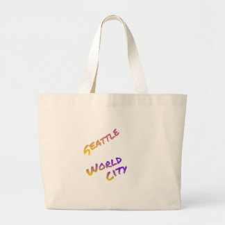 Seattle world city,  colorful text art large tote bag