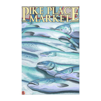 SeattleFish on Ice at Pike Place Market Stretched Canvas Print
