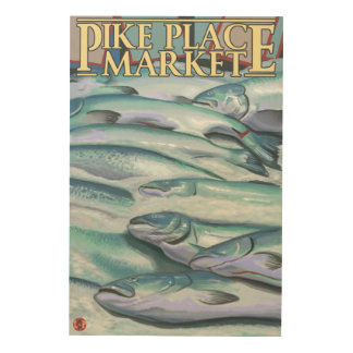 SeattleFish on Ice at Pike Place Market Wood Canvases