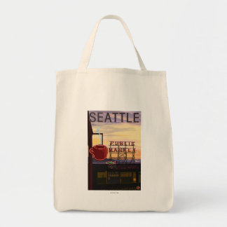 SeattlePike Place Market Sign and Water View Grocery Tote Bag