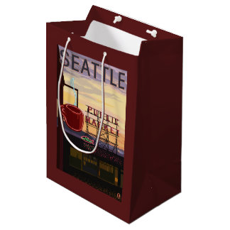 SeattlePike Place Market Sign and Water View Medium Gift Bag