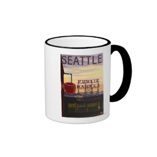 SeattlePike Place Market Sign and Water View Coffee Mugs
