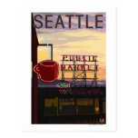 SeattlePike Place Market Sign and Water View Post Card
