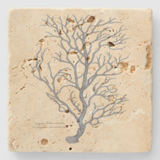Seaweed design on travertine coaster stone coaster