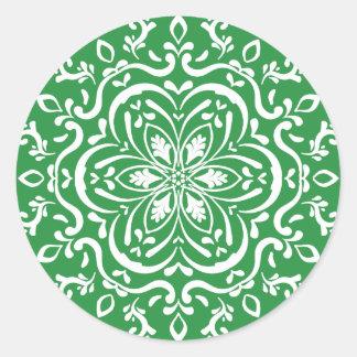 Seaweed Mandala Classic Round Sticker