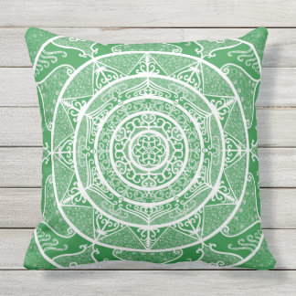 Seaweed Mandala Outdoor Pillow