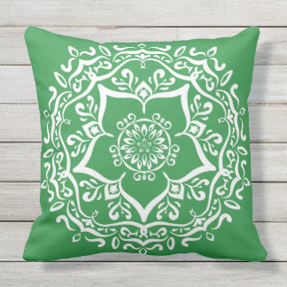 Seaweed Mandala Throw Pillow