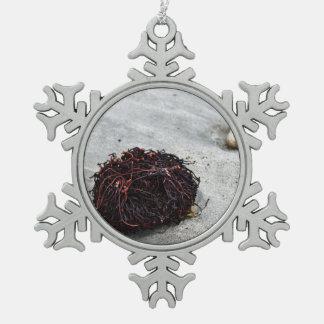 Seaweed Roots Snowflake Pewter Christmas Ornament