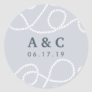 Seaworthy Wedding Monogram Stickers | Fog