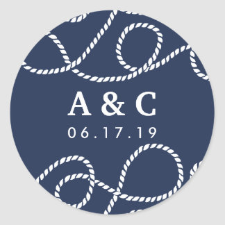 Seaworthy Wedding Monogram Stickers | Navy