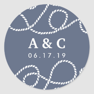 Seaworthy Wedding Monogram Stickers | Slate