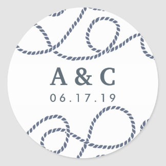 Seaworthy Wedding Monogram Stickers | White