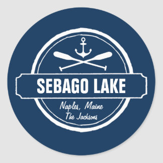 Sebago Lake Maine Personalized Town and Name Classic Round Sticker