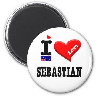 SEBASTIAN - I Love 2 Inch Round Magnet