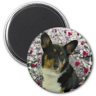 Sebastian the Welsh Corgi in Flowers 2 Inch Round Magnet