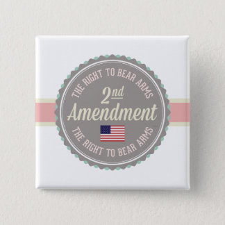 Second Amendment 2 Inch Square Button