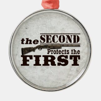 Second Amendment Protects First Amendment Silver-Colored Round Ornament