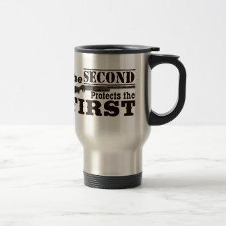 Second Amendment Protects First Amendment Travel Mug