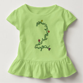 Second Birthday Floral Toddler Ruffle Tee